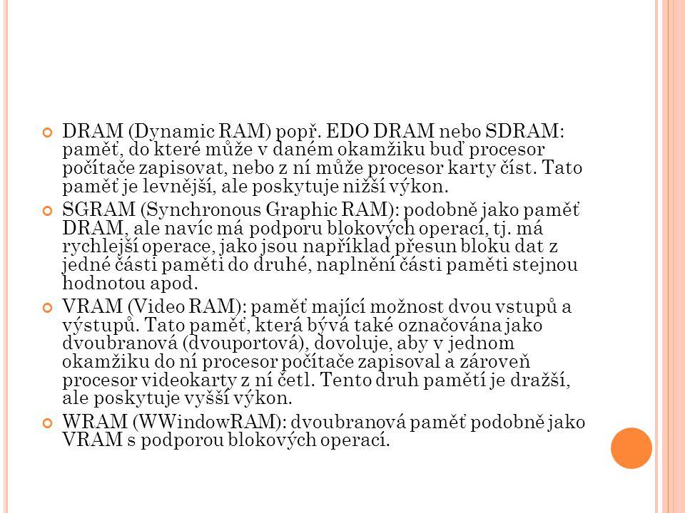 DRAM (Dynamic RAM) popř. EDO DRAM nebo SDRAM: paměť, do které může v daném okamžiku buď procesor počítače zapisovat, nebo z ní může procesor karty čís