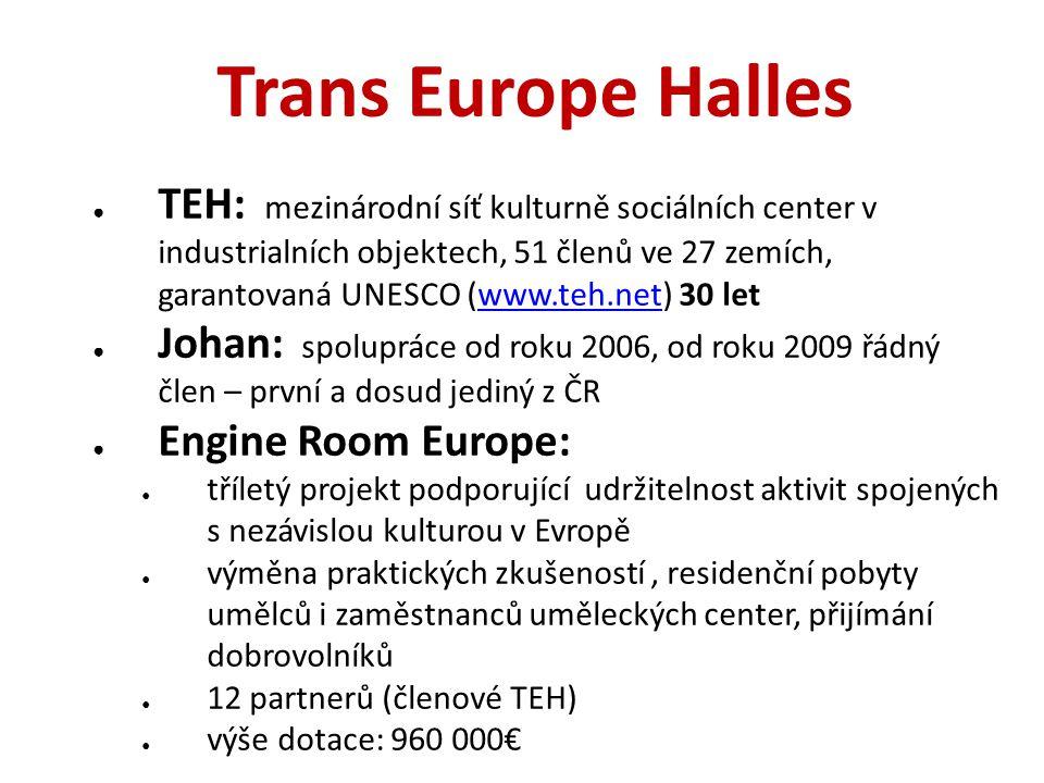 Trans Europe Halles ● TEH: mezinárodní síť kulturně sociálních center v industrialních objektech, 51 členů ve 27 zemích, garantovaná UNESCO (www.teh.n