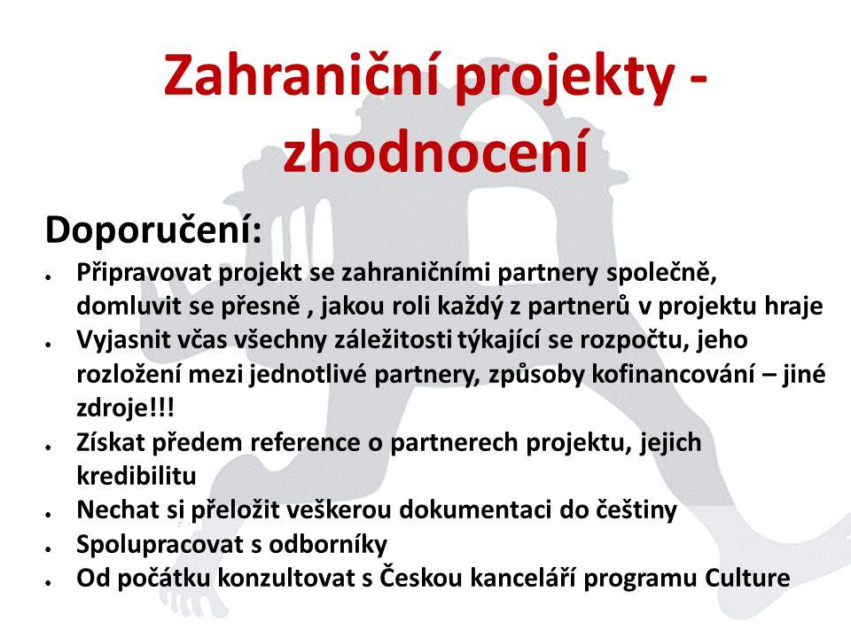 Zahraniční projekty - zhodnocení Doporučení: ● Připravovat projekt se zahraničními partnery společně, domluvit se přesně, jakou roli každý z partnerů