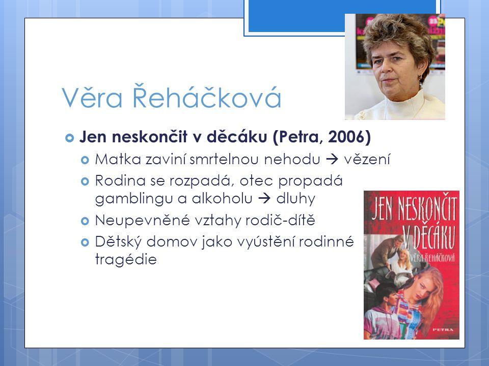 Věra Řeháčková  Jen neskončit v děcáku (Petra, 2006)  Matka zaviní smrtelnou nehodu  vězení  Rodina se rozpadá, otec propadá gamblingu a alkoholu  dluhy  Neupevněné vztahy rodič-dítě  Dětský domov jako vyústění rodinné tragédie