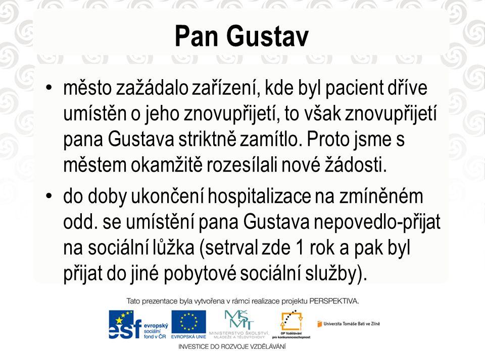 Pan Gustav • město zažádalo zařízení, kde byl pacient dříve umístěn o jeho znovupřijetí, to však znovupřijetí pana Gustava striktně zamítlo. Proto jsm