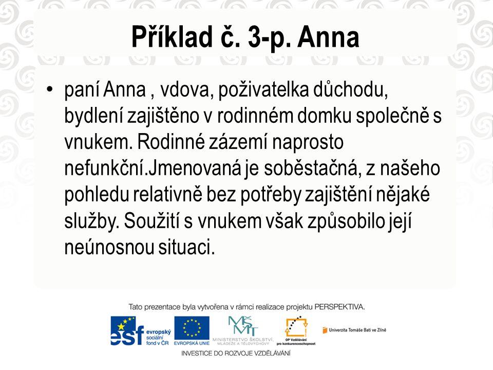 Příklad č. 3-p. Anna • paní Anna, vdova, poživatelka důchodu, bydlení zajištěno v rodinném domku společně s vnukem. Rodinné zázemí naprosto nefunkční.