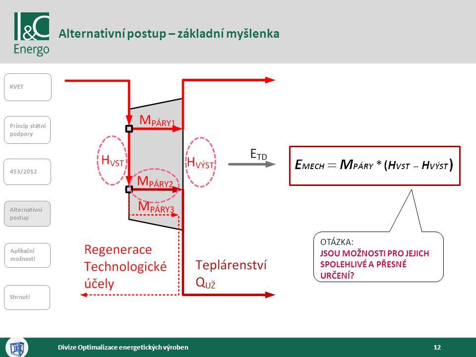12Divize Optimalizace energetických výroben Alternativní postup – základní myšlenka KVET Princip státní podpory 453/2012 Alternativní postup Aplikační