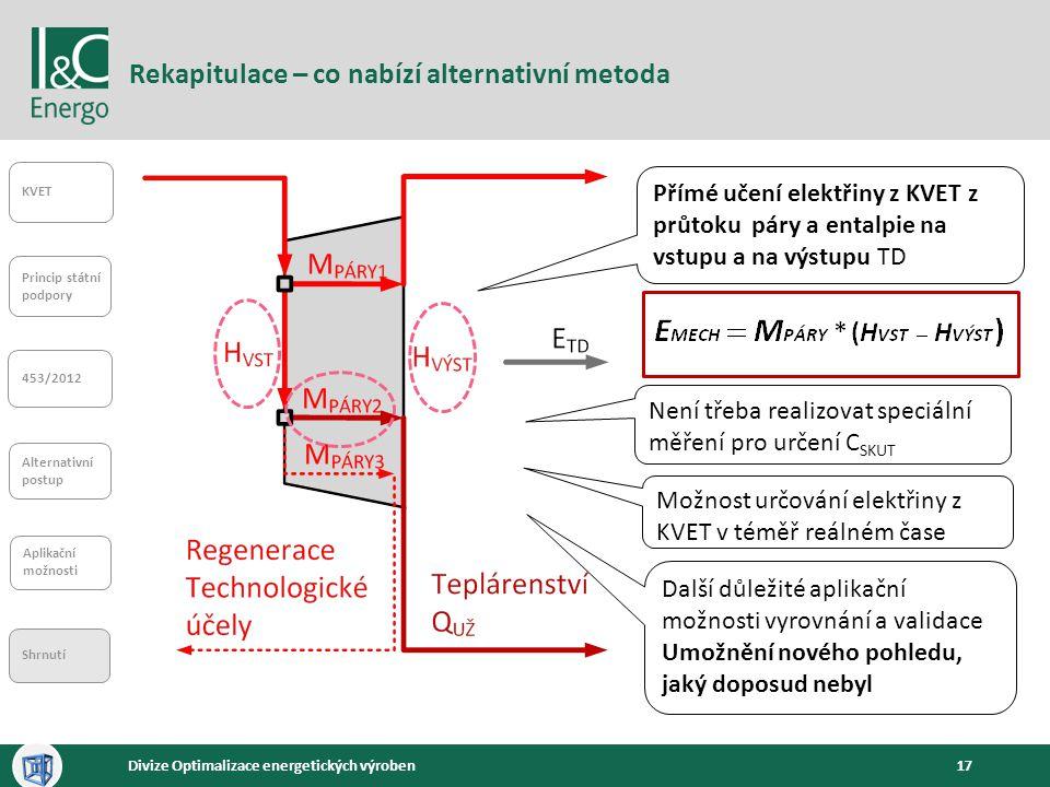 17Divize Optimalizace energetických výroben Rekapitulace – co nabízí alternativní metoda KVET Princip státní podpory 453/2012 Alternativní postup Apli