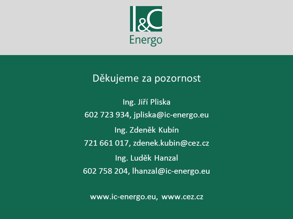 Děkujeme za pozornost Ing. Jiří Pliska 602 723 934, jpliska@ic-energo.eu Ing. Zdeněk Kubín 721 661 017, zdenek.kubin@cez.cz Ing. Luděk Hanzal 602 758
