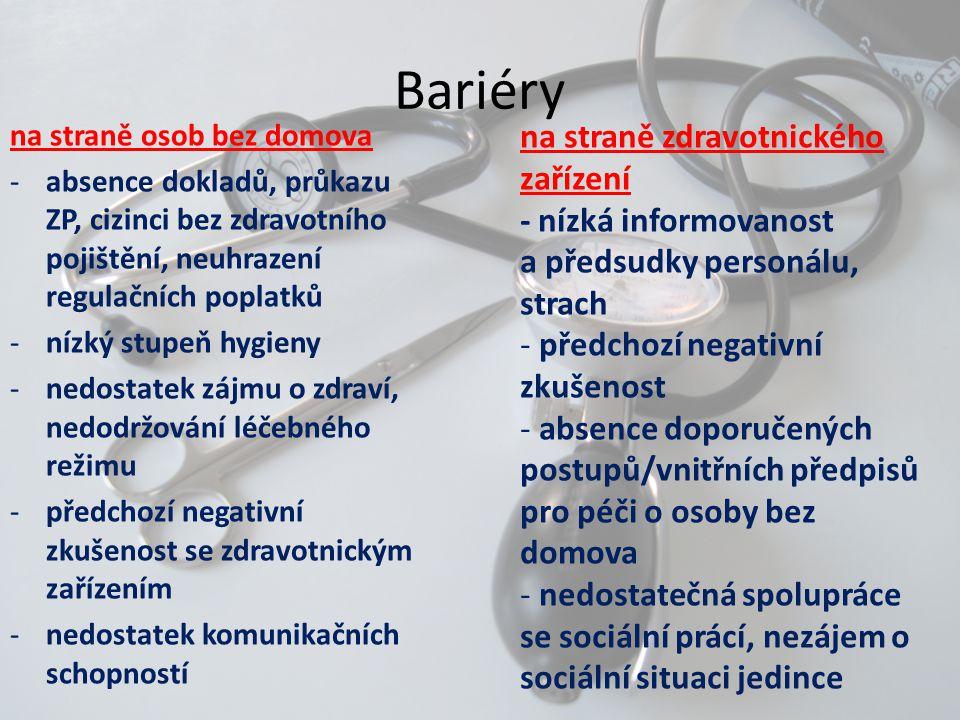 Bariéry na straně zdravotnického zařízení - nízká informovanost a předsudky personálu, strach - předchozí negativní zkušenost - absence doporučených p