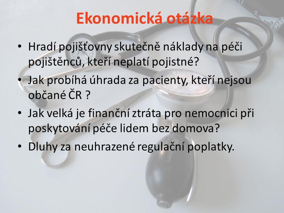 Ekonomická otázka • Hradí pojišťovny skutečně náklady na péči pojištěnců, kteří neplatí pojistné? • Jak probíhá úhrada za pacienty, kteří nejsou občan