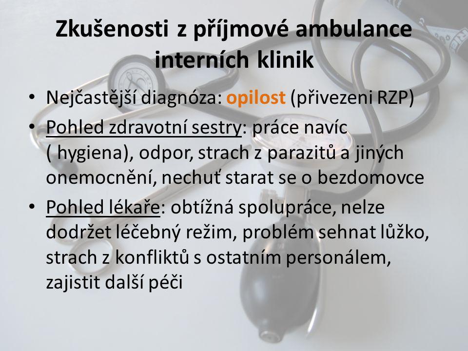 Zkušenosti z příjmové ambulance interních klinik • Nejčastější diagnóza: opilost (přivezeni RZP) • Pohled zdravotní sestry: práce navíc ( hygiena), od