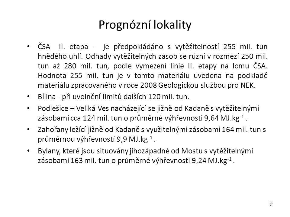 Prognózní lokality 9 • ČSA II.etapa - je předpokládáno s vytěžitelností 255 mil.