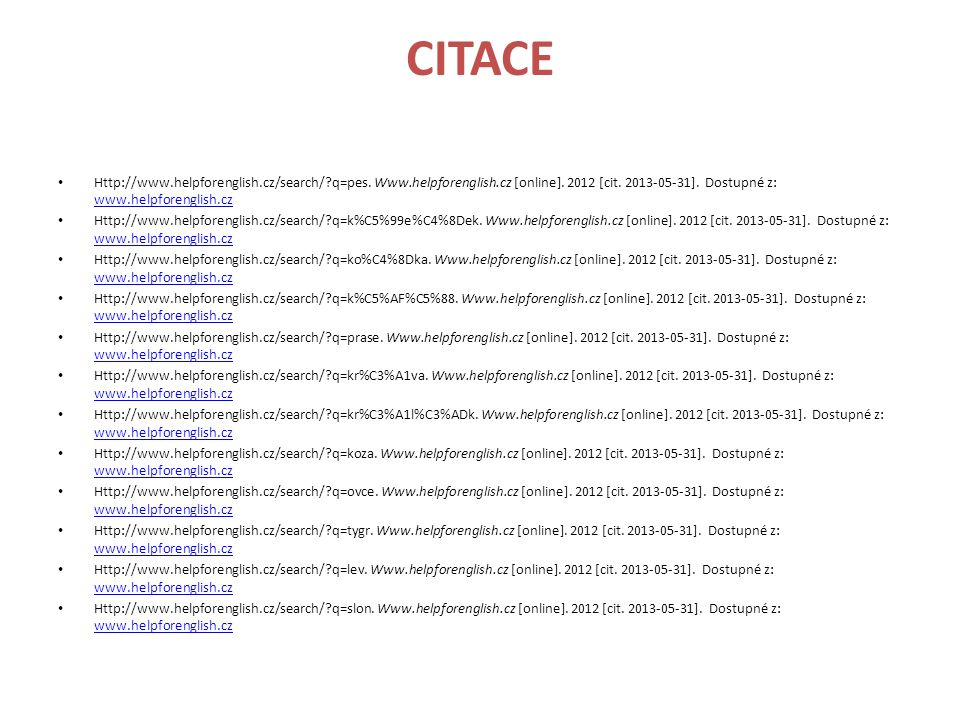 CITACE • Http://www.helpforenglish.cz/search/?q=opice.