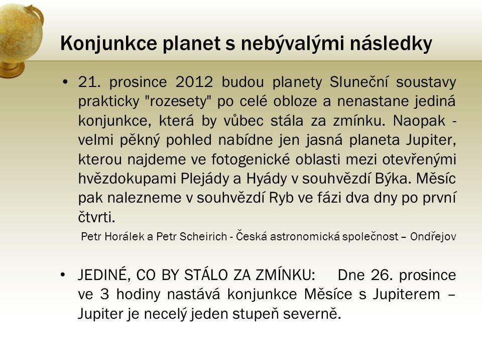 •21. prosince 2012 budou planety Sluneční soustavy prakticky