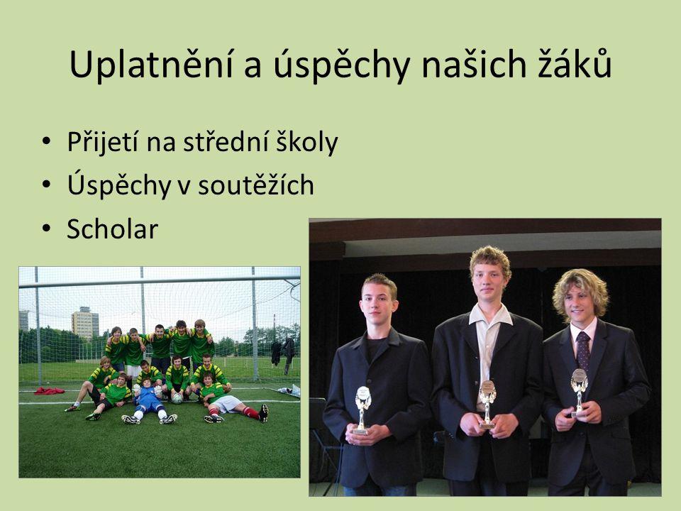 Uplatnění a úspěchy našich žáků • Přijetí na střední školy • Úspěchy v soutěžích • Scholar