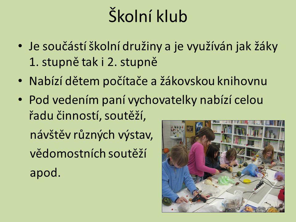 Školní klub • Je součástí školní družiny a je využíván jak žáky 1. stupně tak i 2. stupně • Nabízí dětem počítače a žákovskou knihovnu • Pod vedením p