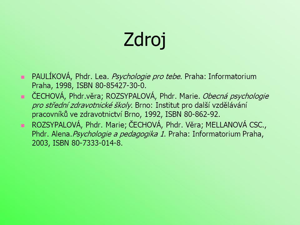 Zdroj  PAULÍKOVÁ, Phdr. Lea. Psychologie pro tebe. Praha: Informatorium Praha, 1998, ISBN 80-85427-30-0.  ČECHOVÁ, Phdr.věra; ROZSYPALOVÁ, Phdr. Mar
