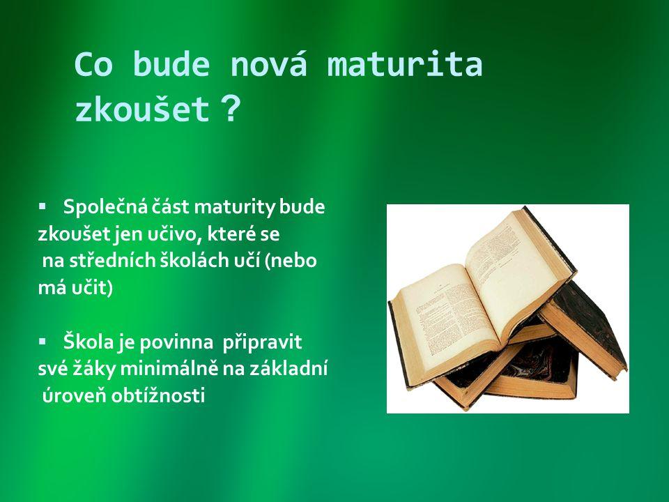 Model maturitní zkoušky ROKSPOLEČNÁ ČÁSTPROFILOVÁ ČÁST 2 povinné zkoušky: 1.