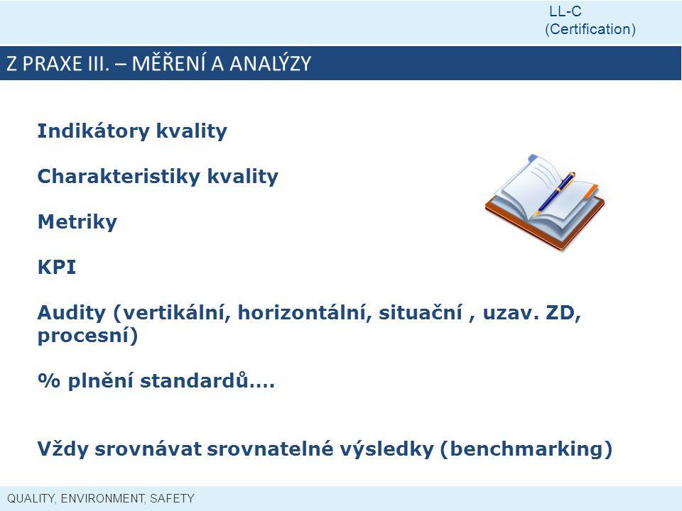 QUALITY, ENVIRONMENT, SAFETY LL-C (Certification) Z PRAXE III. – MĚŘENÍ A ANALÝZY Indikátory kvality Charakteristiky kvality Metriky KPI Audity (verti