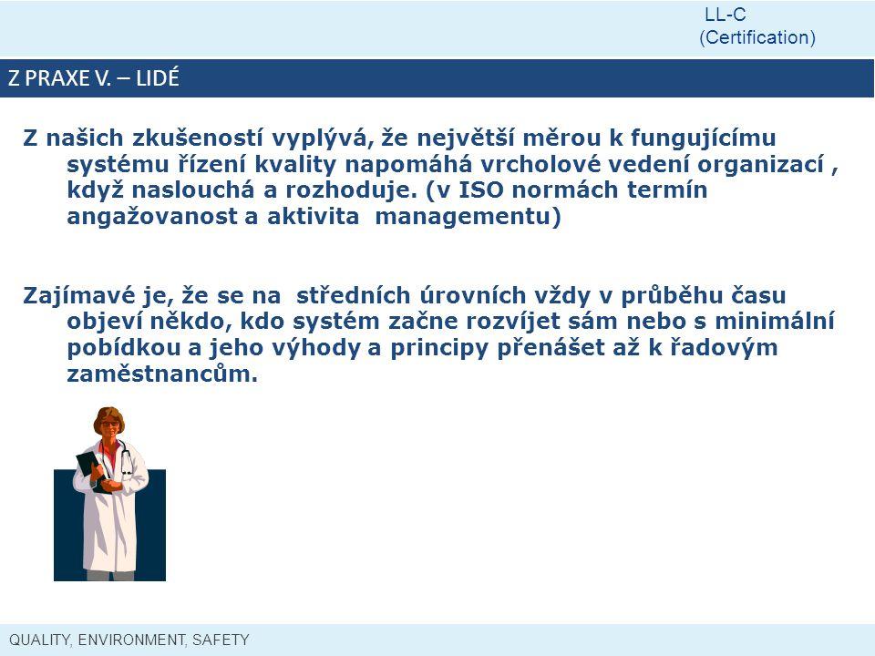 QUALITY, ENVIRONMENT, SAFETY LL-C (Certification) Z PRAXE V.
