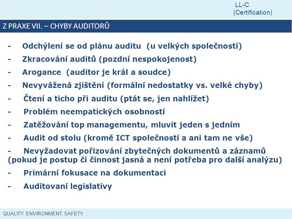 QUALITY, ENVIRONMENT, SAFETY LL-C (Certification) Z PRAXE VII. – CHYBY AUDITORŮ - Odchýlení se od plánu auditu (u velkých společností) - Zkracování au