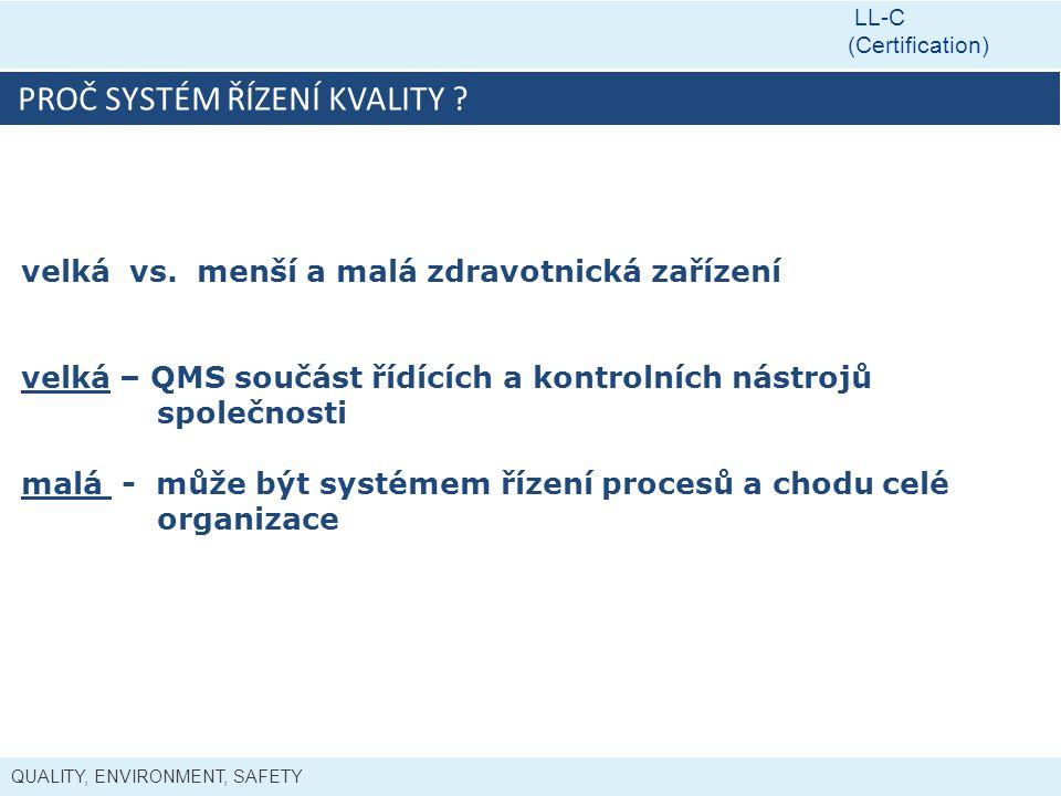 QUALITY, ENVIRONMENT, SAFETY LL-C (Certification) PROČ SYSTÉM ŘÍZENÍ KVALITY ? velká vs. menší a malá zdravotnická zařízení velká – QMS součást řídící