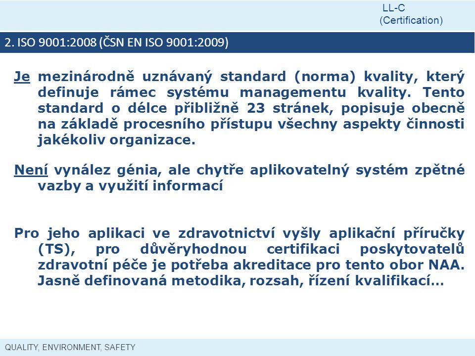 QUALITY, ENVIRONMENT, SAFETY LL-C (Certification) 2. ISO 9001:2008 (ČSN EN ISO 9001:2009) Je mezinárodně uznávaný standard (norma) kvality, který defi