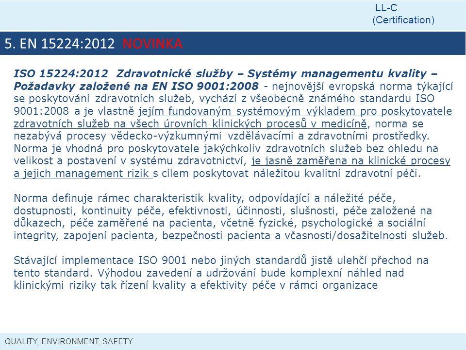 QUALITY, ENVIRONMENT, SAFETY LL-C (Certification) 5. EN 15224:2012 NOVINKA ISO 15224:2012 Zdravotnické služby – Systémy managementu kvality – Požadavk