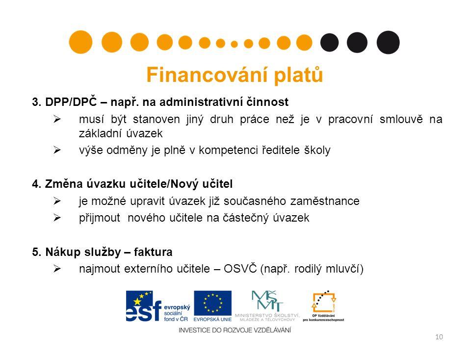 Financování platů 3. DPP/DPČ – např.