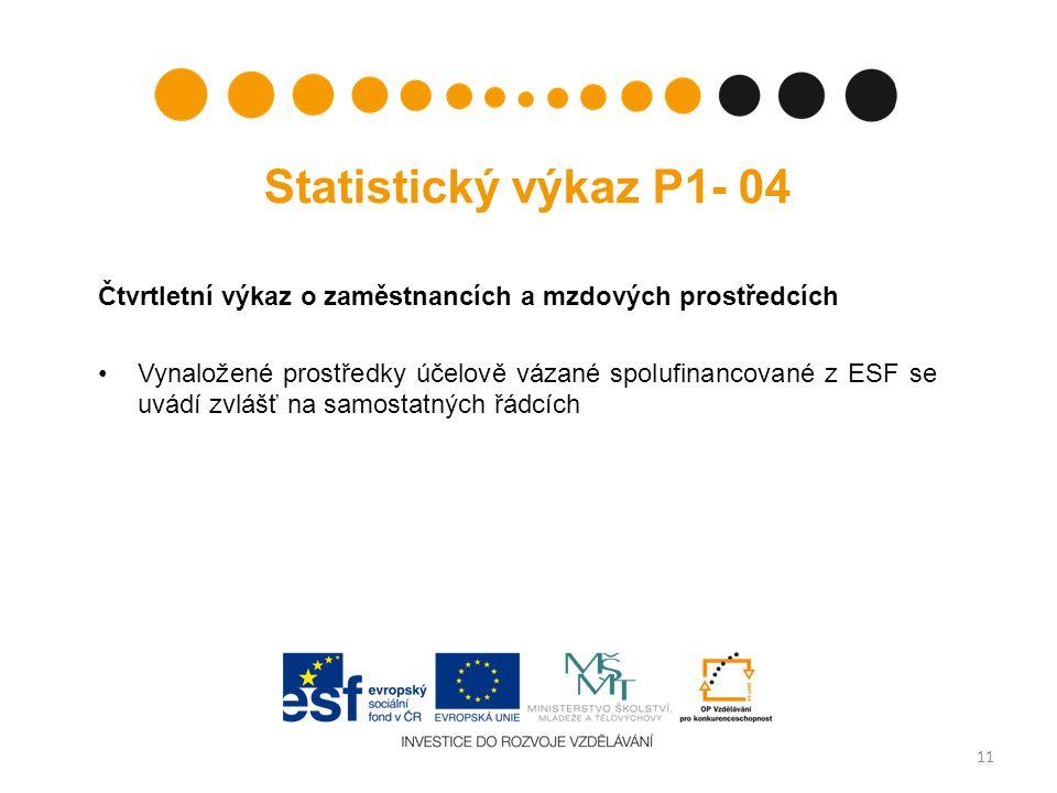 Statistický výkaz P1- 04 Čtvrtletní výkaz o zaměstnancích a mzdových prostředcích •Vynaložené prostředky účelově vázané spolufinancované z ESF se uvádí zvlášť na samostatných řádcích 11