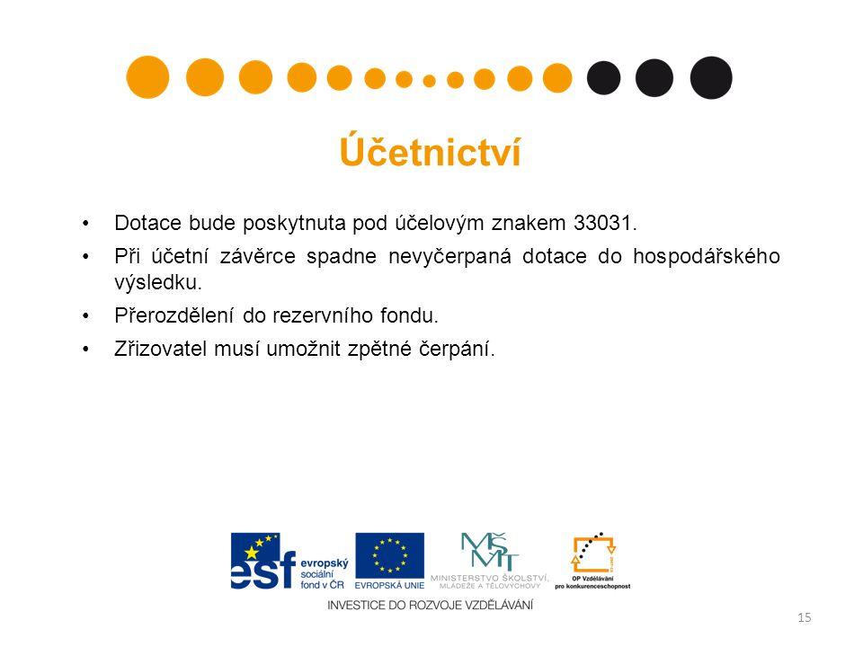 Účetnictví •Dotace bude poskytnuta pod účelovým znakem 33031.