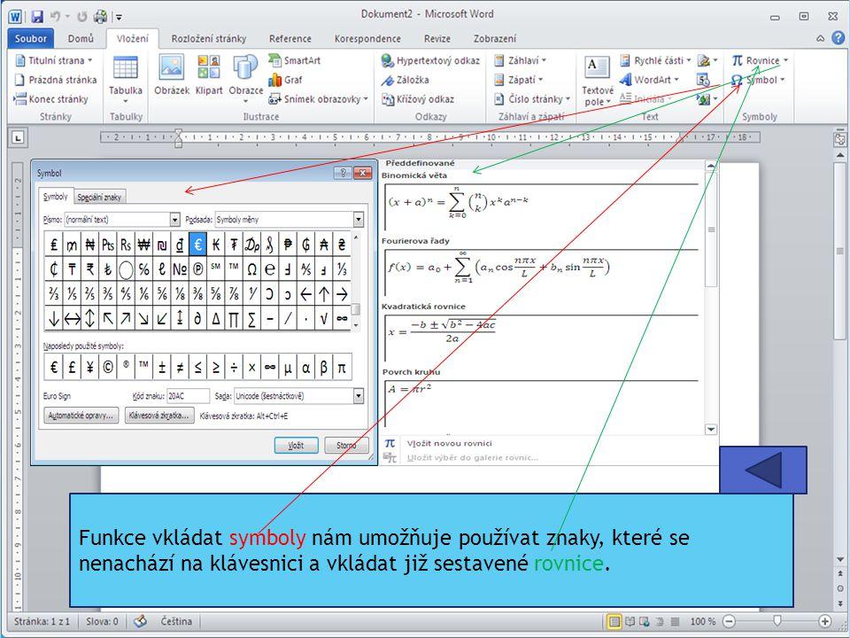 Funkce vkládat symboly nám umožňuje používat znaky, které se nenachází na klávesnici a vkládat již sestavené rovnice.