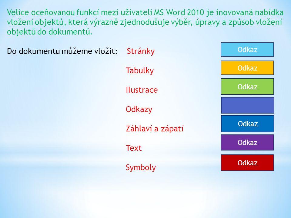 Velice oceňovanou funkcí mezi uživateli MS Word 2010 je inovovaná nabídka vložení objektů, která výrazně zjednodušuje výběr, úpravy a způsob vložení objektů do dokumentů.