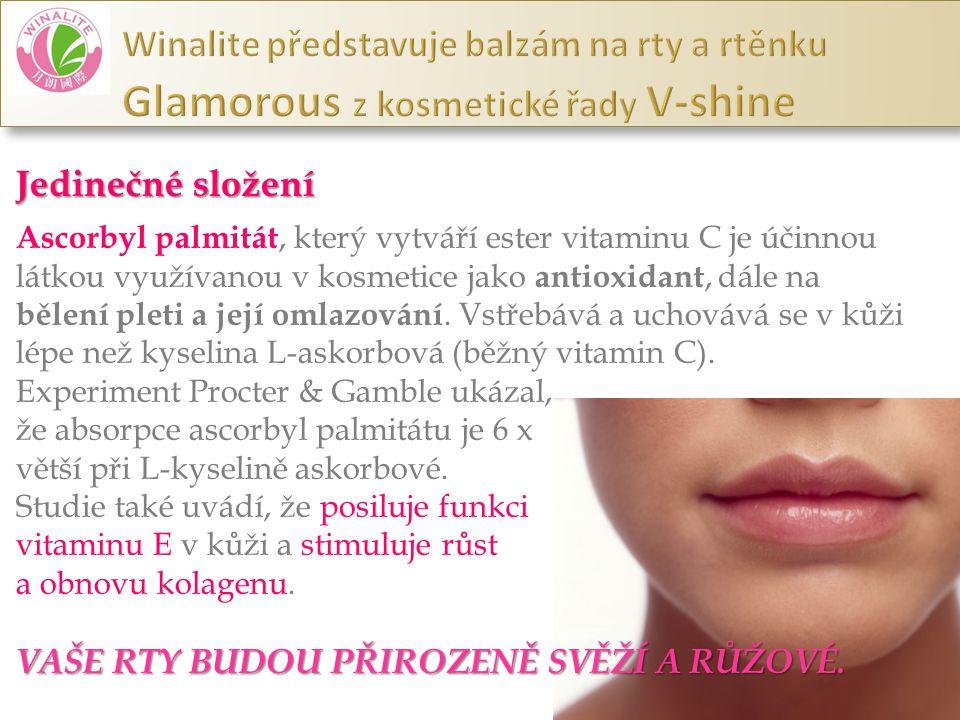 Jedinečné složení Ascorbyl palmitát, který vytváří ester vitaminu C je účinnou látkou využívanou v kosmetice jako antioxidant, dále na bělení pleti a