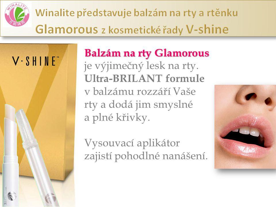 Balzám na rty Glamorous je výjimečný lesk na rty. Ultra-BRILANT formule v balzámu rozzáří Vaše rty a dodá jim smyslné a plné křivky. Vysouvací aplikát
