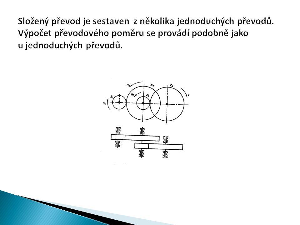 Mezi hnacím a hnaným převodem je jeden převod: i 12 = n 1 /n 2 = D 2 /D 1 Mezi předlohovým a hnaným převodem je druhý převod: i 12 = n 3 /n 4 = D 4 /D 3