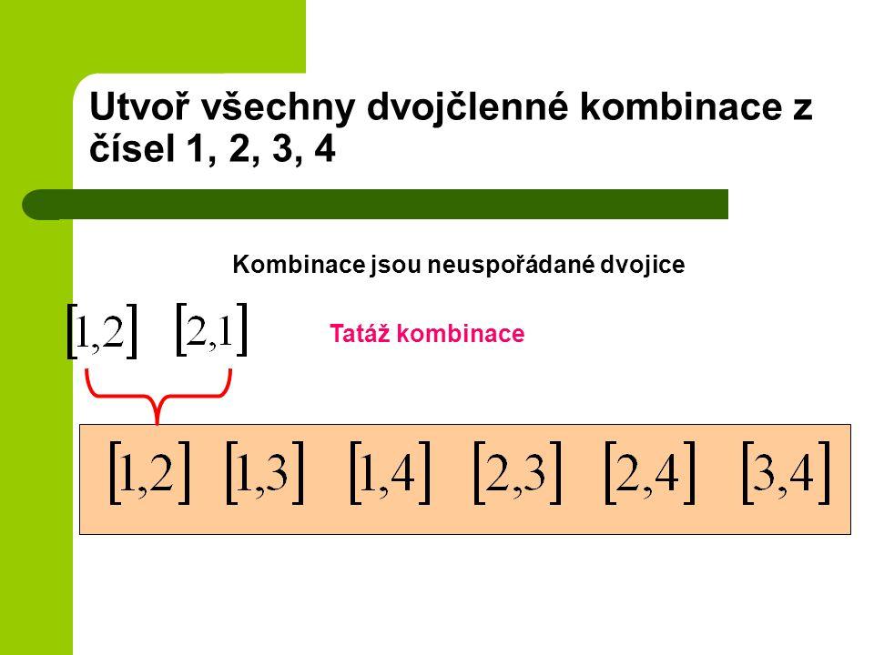 Utvoř všechny dvojčlenné kombinace z čísel 1, 2, 3, 4 Kombinace jsou neuspořádané dvojice Tatáž kombinace
