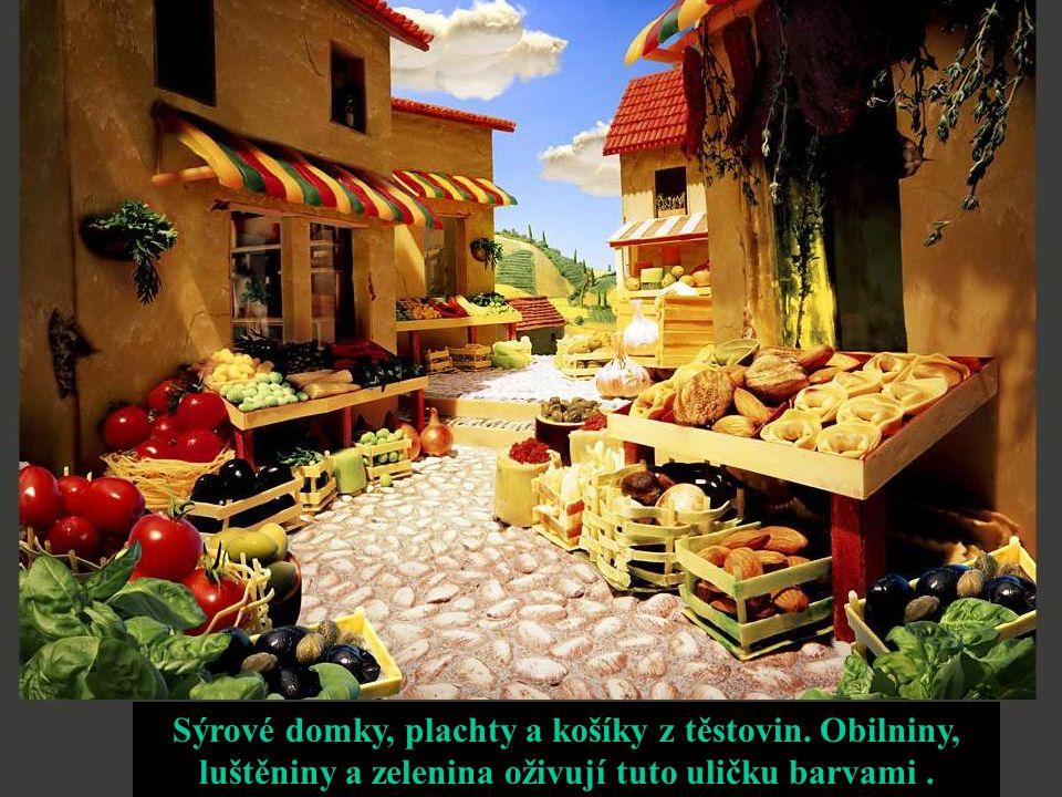 Sýrové domky, plachty a košíky z těstovin. Obilniny, luštěniny a zelenina oživují tuto uličku barvami.