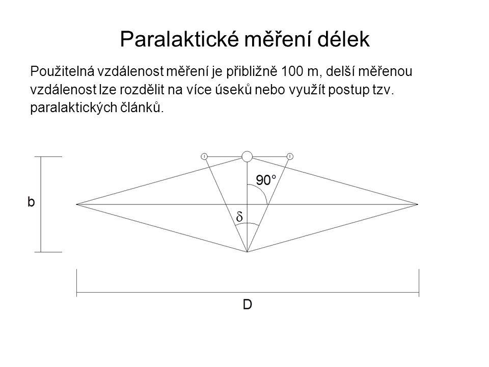 Použitelná vzdálenost měření je přibližně 100 m, delší měřenou vzdálenost lze rozdělit na více úseků nebo využít postup tzv. paralaktických článků. Pa