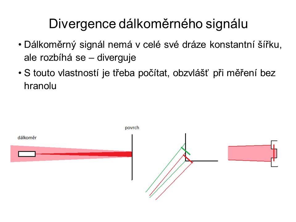 •Dálkoměrný signál nemá v celé své dráze konstantní šířku, ale rozbíhá se – diverguje •S touto vlastností je třeba počítat, obzvlášť při měření bez hr