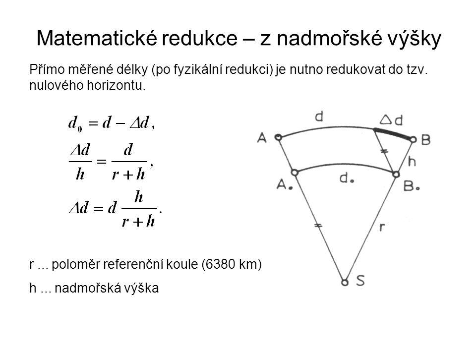 Přímo měřené délky (po fyzikální redukci) je nutno redukovat do tzv. nulového horizontu. Matematické redukce – z nadmořské výšky r... poloměr referenč