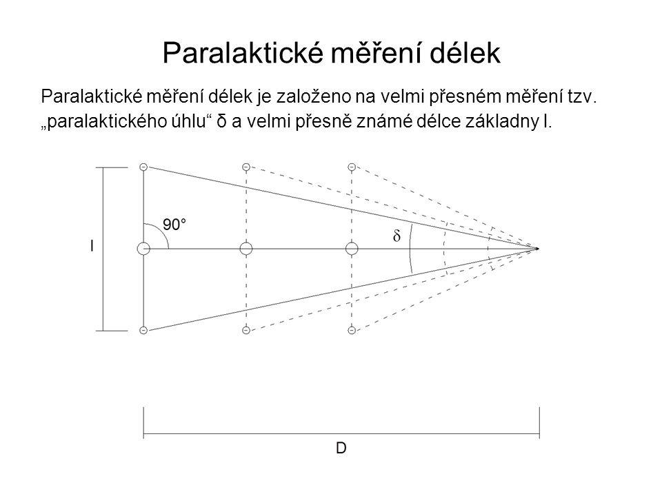 """Paralaktické měření délek je založeno na velmi přesném měření tzv. """"paralaktického úhlu"""" δ a velmi přesně známé délce základny l. Paralaktické měření"""