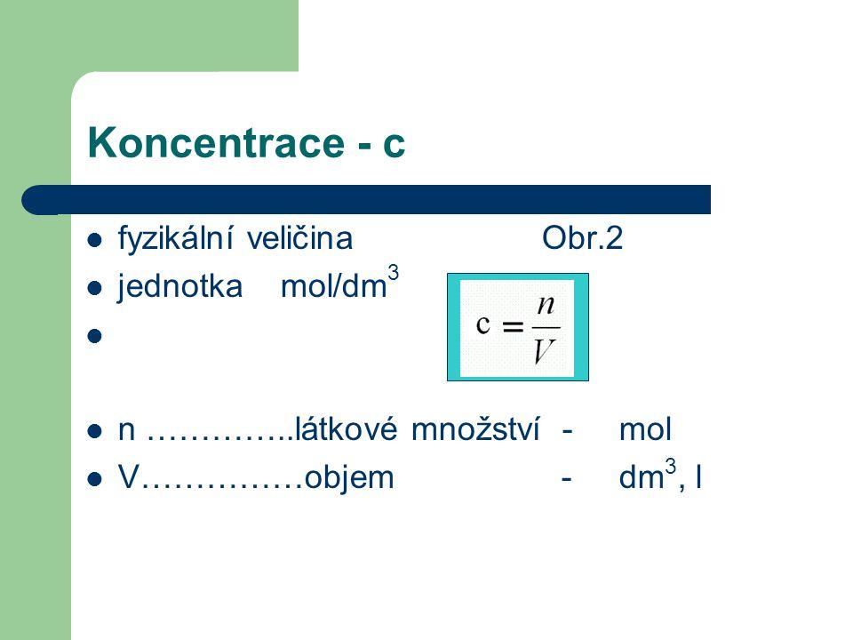Látkové množství - n, jednotka mol  1 mol libovolné látky obsahuje stejný počet částic jako je obsaženo atomů ve 12 g izotopu uhlíku  počet udává Avogadrova konstantaAvogadrova konstanta  6,023.
