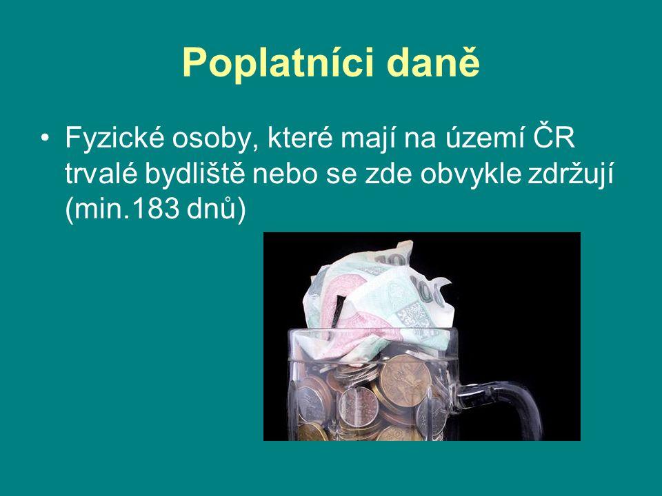 Poplatníci daně •Fyzické osoby, které mají na území ČR trvalé bydliště nebo se zde obvykle zdržují (min.183 dnů)