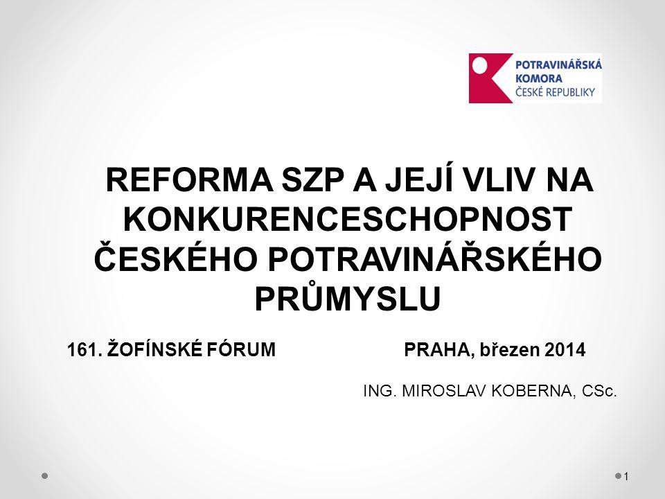 1 REFORMA SZP A JEJÍ VLIV NA KONKURENCESCHOPNOST ČESKÉHO POTRAVINÁŘSKÉHO PRŮMYSLU 161.