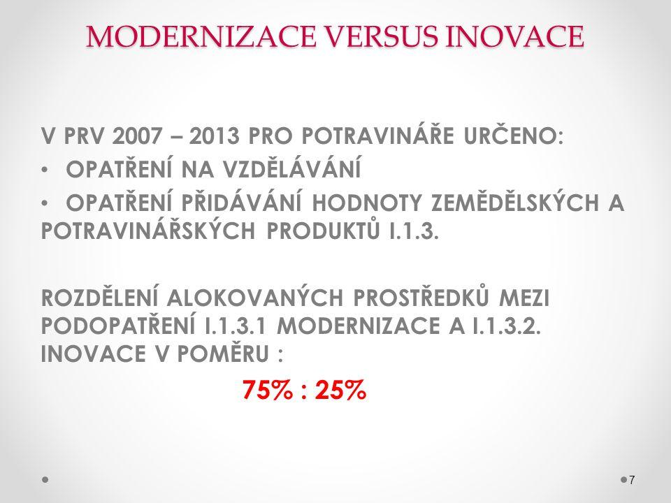 MODERNIZACE VERSUS INOVACE V PRV 2007 – 2013 PRO POTRAVINÁŘE URČENO: • OPATŘENÍ NA VZDĚLÁVÁNÍ • OPATŘENÍ PŘIDÁVÁNÍ HODNOTY ZEMĚDĚLSKÝCH A POTRAVINÁŘSKÝCH PRODUKTŮ I.1.3.
