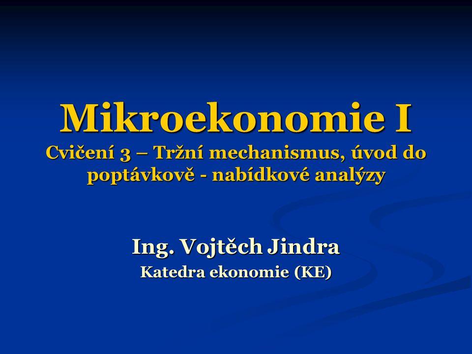 Mikroekonomie I Cvičení 3 – Tržní mechanismus, úvod do poptávkově - nabídkové analýzy Ing. Vojtěch Jindra Katedra ekonomie (KE)