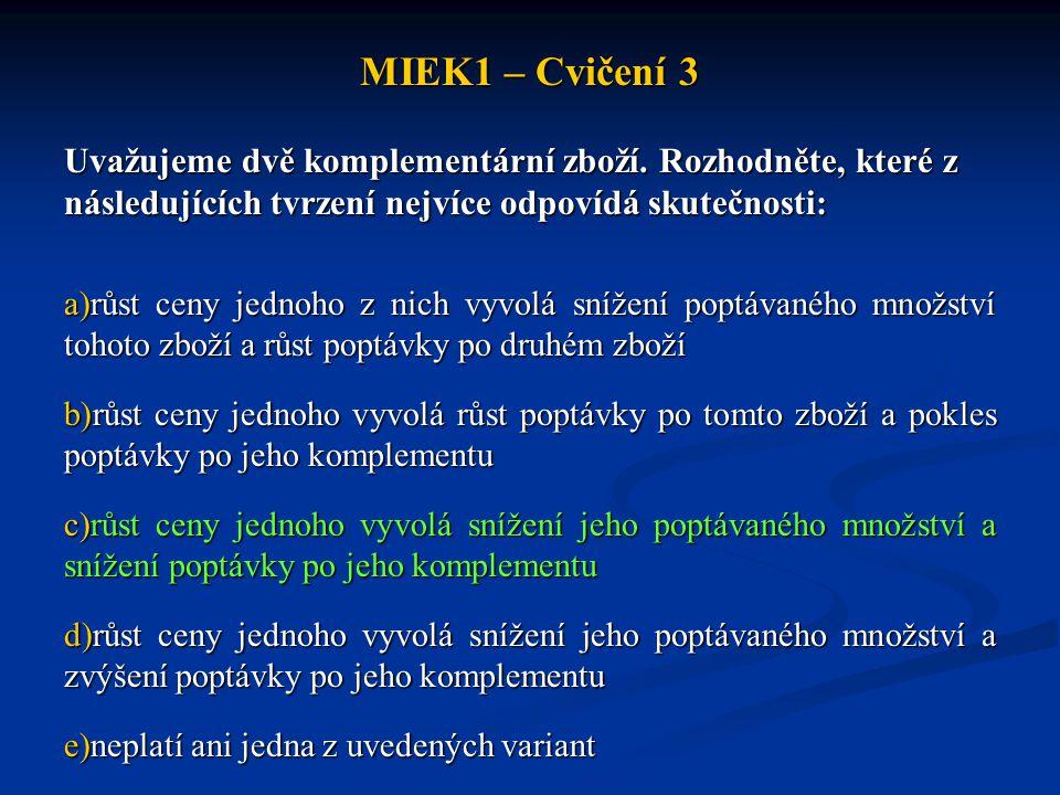 MIEK1 – Cvičení 3 Uvažujeme dvě komplementární zboží. Rozhodněte, které z následujících tvrzení nejvíce odpovídá skutečnosti: a)růst ceny jednoho z ni