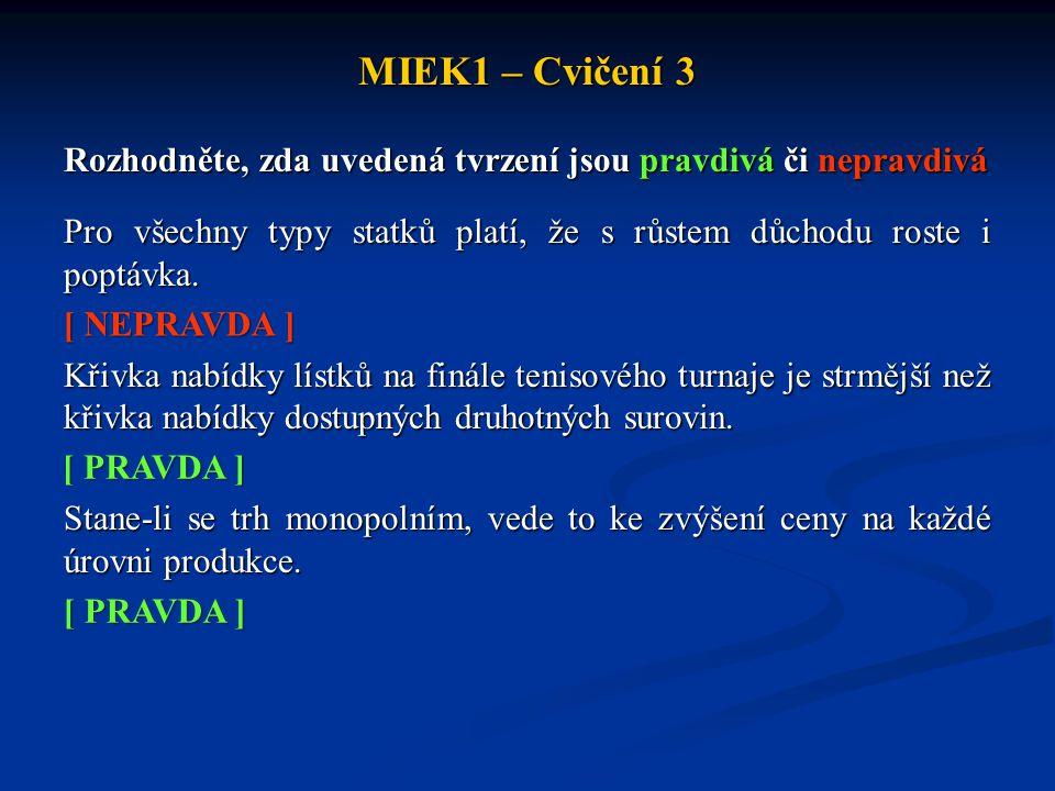 MIEK1 – Cvičení 3 Rozhodněte, zda uvedená tvrzení jsou pravdivá či nepravdivá Pro všechny typy statků platí, že s růstem důchodu roste i poptávka. Kři