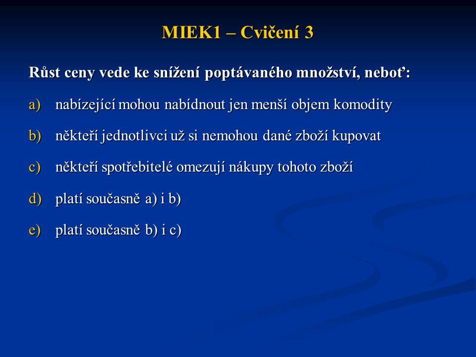 MIEK1 – Cvičení 3 Růst ceny vede ke snížení poptávaného množství, neboť: a)nabízející mohou nabídnout jen menší objem komodity b)někteří jednotlivci u