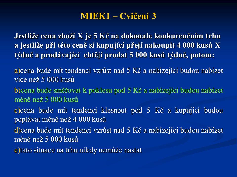 MIEK1 – Cvičení 3 Jestliže cena zboží X je 5 Kč na dokonale konkurenčním trhu a jestliže při této ceně si kupující přejí nakoupit 4 000 kusů X týdně a