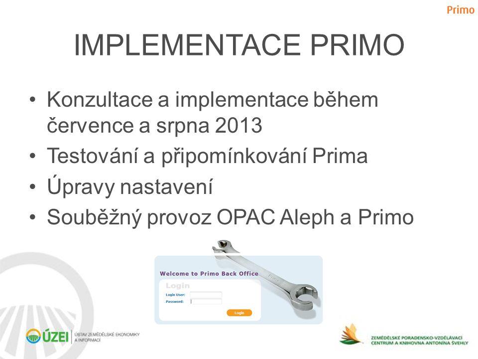 IMPLEMENTACE PRIMO •Konzultace a implementace během července a srpna 2013 •Testování a připomínkování Prima •Úpravy nastavení •Souběžný provoz OPAC Al