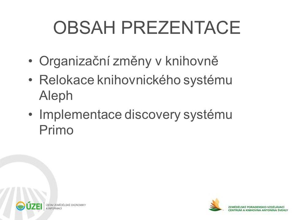 OBSAH PREZENTACE •Organizační změny v knihovně •Relokace knihovnického systému Aleph •Implementace discovery systému Primo